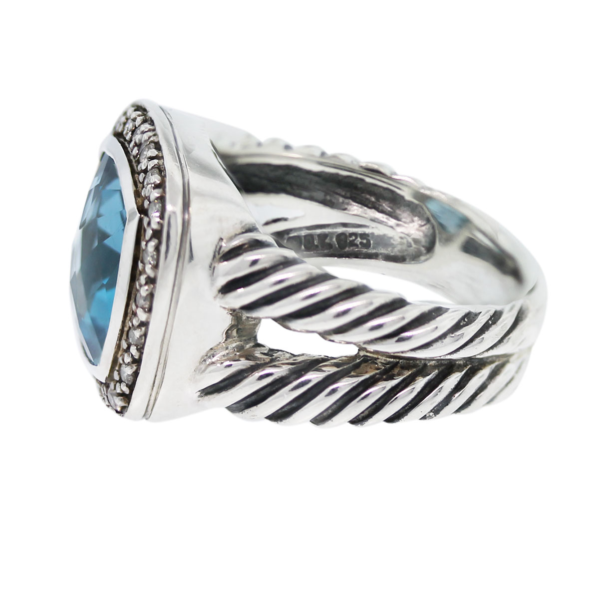 You have to see this David Yurman Albion Blue Topaz & Pave Diamond Split Shank Ring