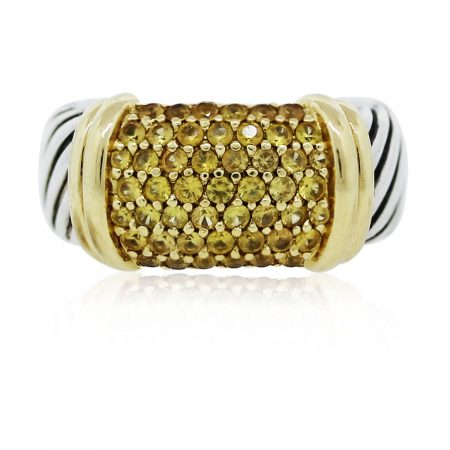 You are viewing this David Yurman Two Tone Yellow Sapphire Pave Metro Ring!