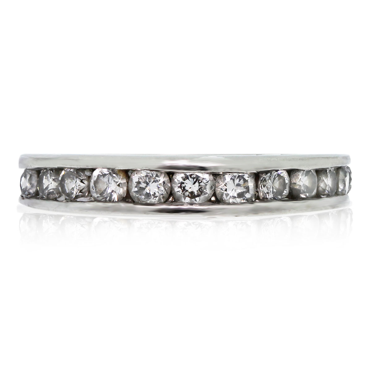 This 14k White Gold Invisibly Set Round Diamond Wedding Band is beautiful