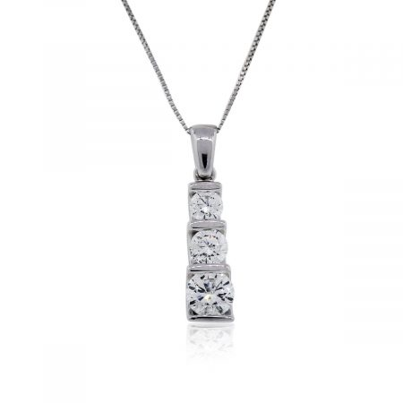 You are viewing this White Gold Three Stone Diamond Necklace!