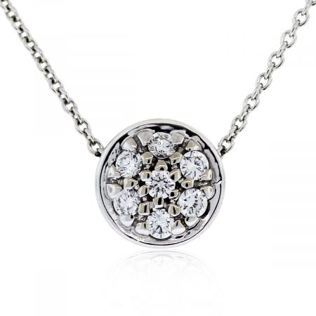 Check out this 18kt White Gold Round Brilliant Diamond Cluster Pendant on Chain