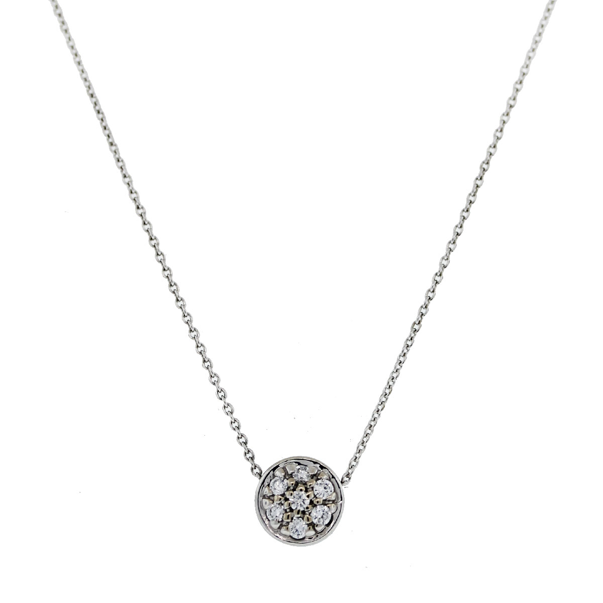 This 18kt White Gold Round Brilliant Diamond Cluster Pendant on Chain should be yours!