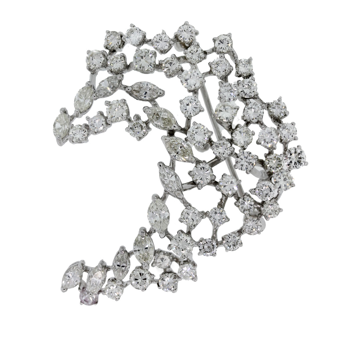 Check out this gorgeous 14kt White Gold Marquise & Round Diamond Leaf Pin!