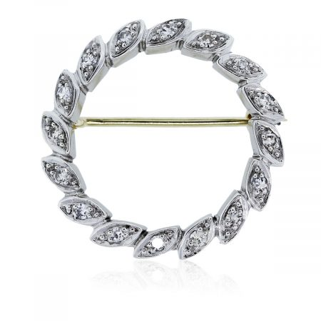 You are viewing this Vintage Yellow Gold Diamond Circle Pin!