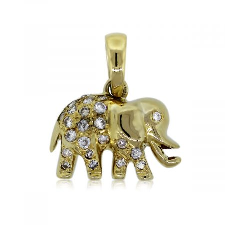 You are Viewing this Gorgeous 18k Yellow Gold Diamond Elephant Pendant!