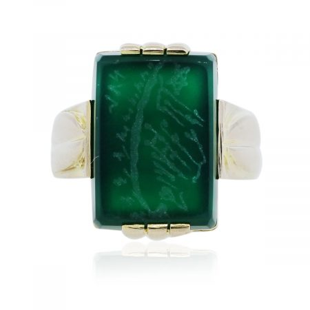 You are viewing this Yellow Gold Green Intaglio Ring