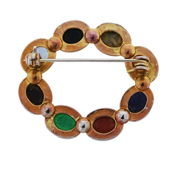Check out this cool Gold Plated Multi Colored Semi-Precious Carved Gemstone Pin