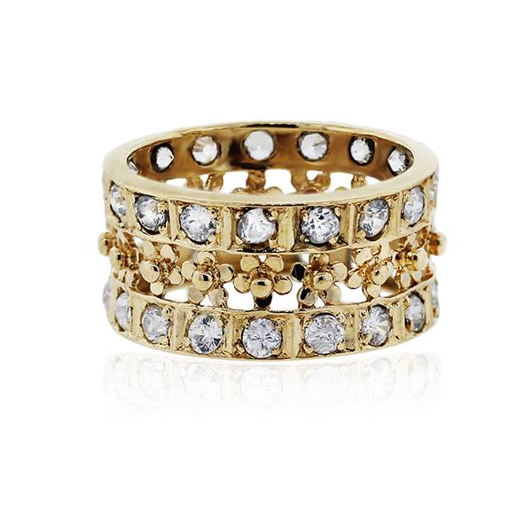 Gold and CZ flower ring