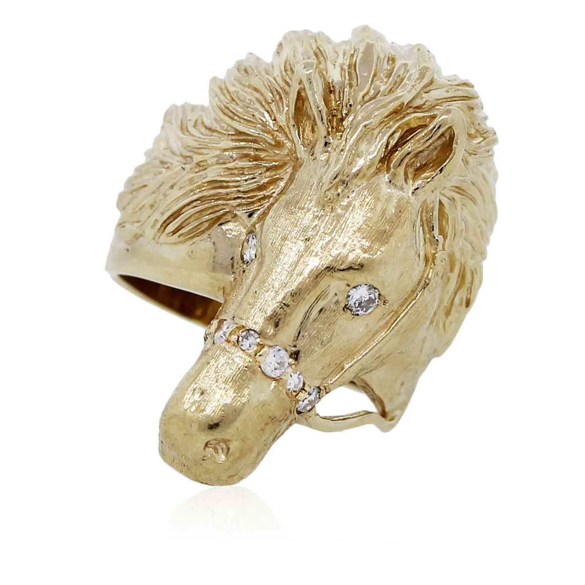 You are viewing this Yellow Gold Horse Head Ring With Diamond Accents!