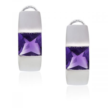 You are viewing these White Gold Amethyst Huggie Earrings!