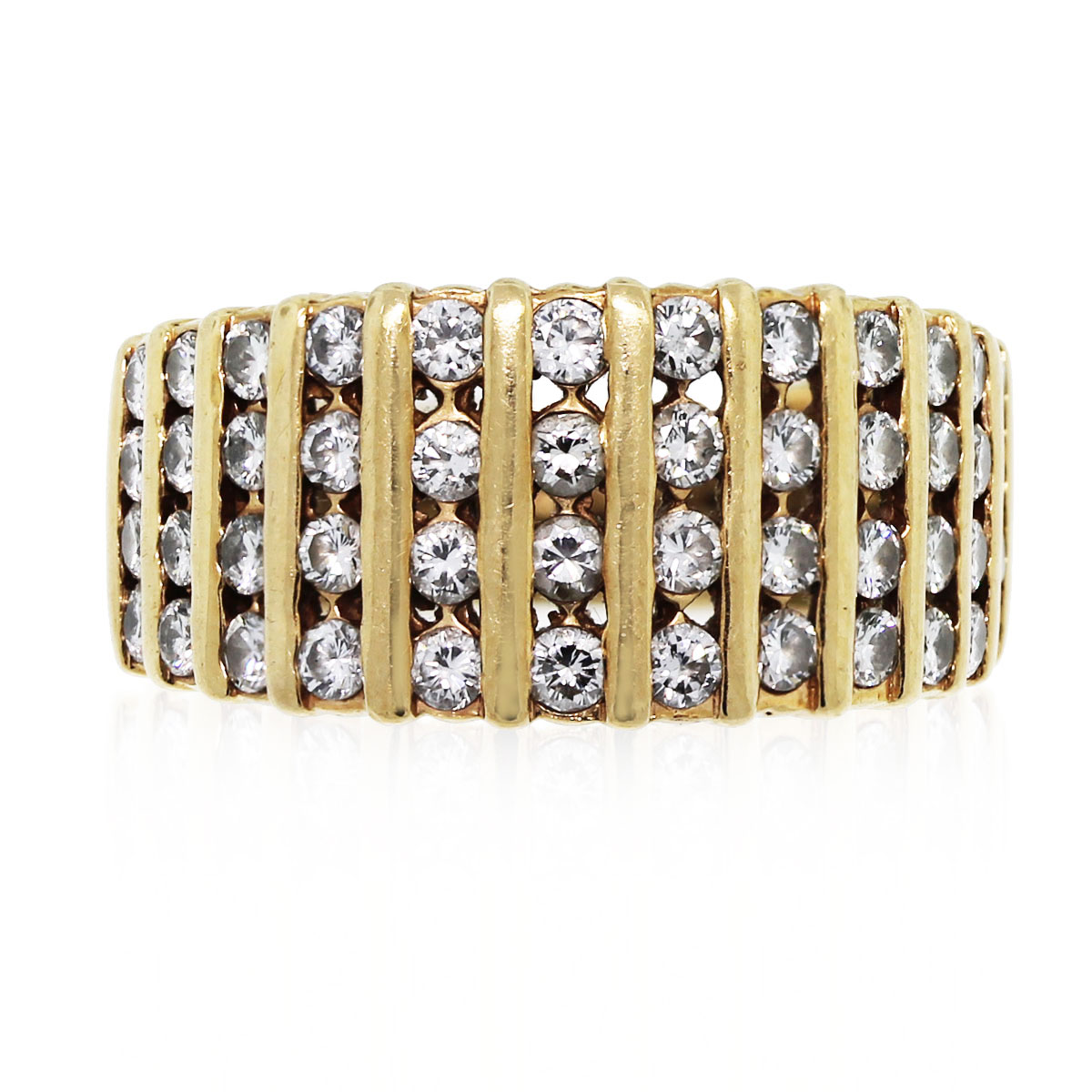 Have you seen this 14k Yellow Gold Diamond Ribbed Band Ring?