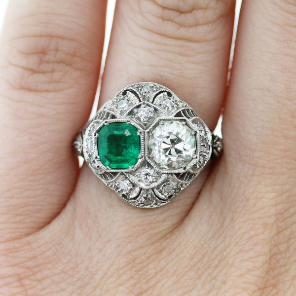 Check out this gorgeous Vintage Platinum Old European Cut Diamond and Emerald Ring