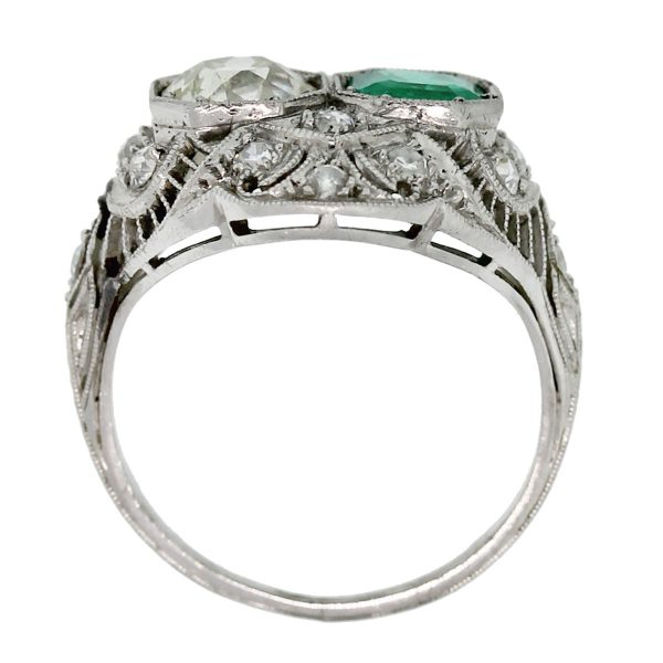 How beautiful is this Vintage Platinum Old European Cut Diamond and Emerald Ring!?