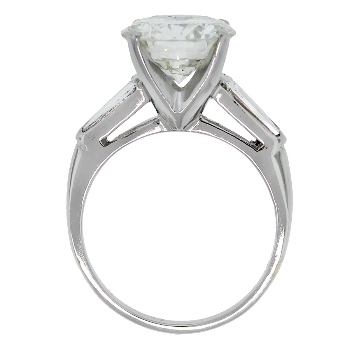 Check out this Platinum EGL Certified Round Brilliant & Baguette Diamond Engagement Ring!