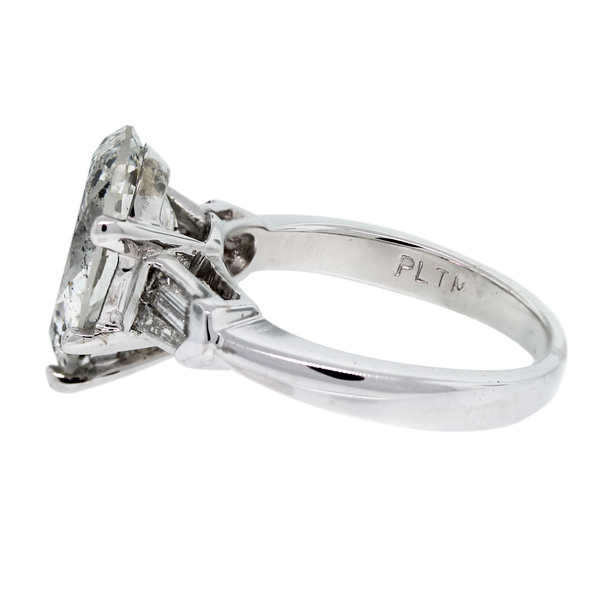 Check out this Platinum 3.47ct Pear Shape & Baguette Diamond Engagement Ring!