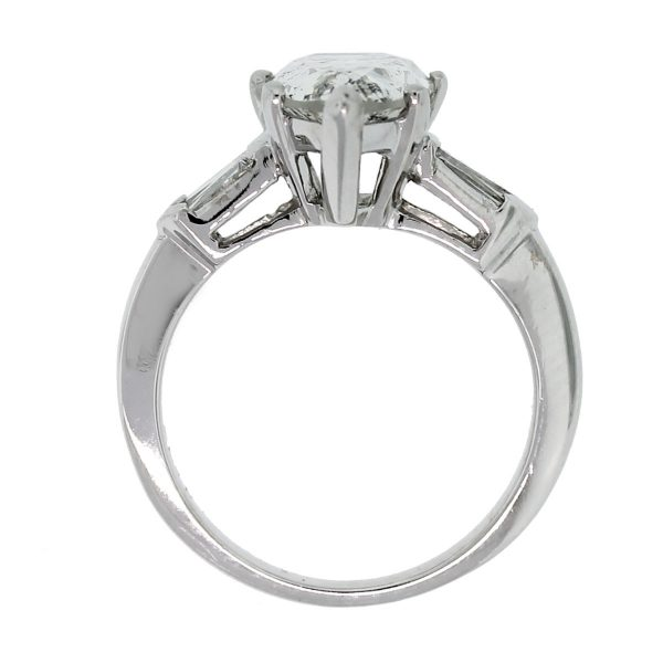 You'll fall in love with this Platinum 3.47ct Pear Shape & Baguette Diamond Engagement Ring