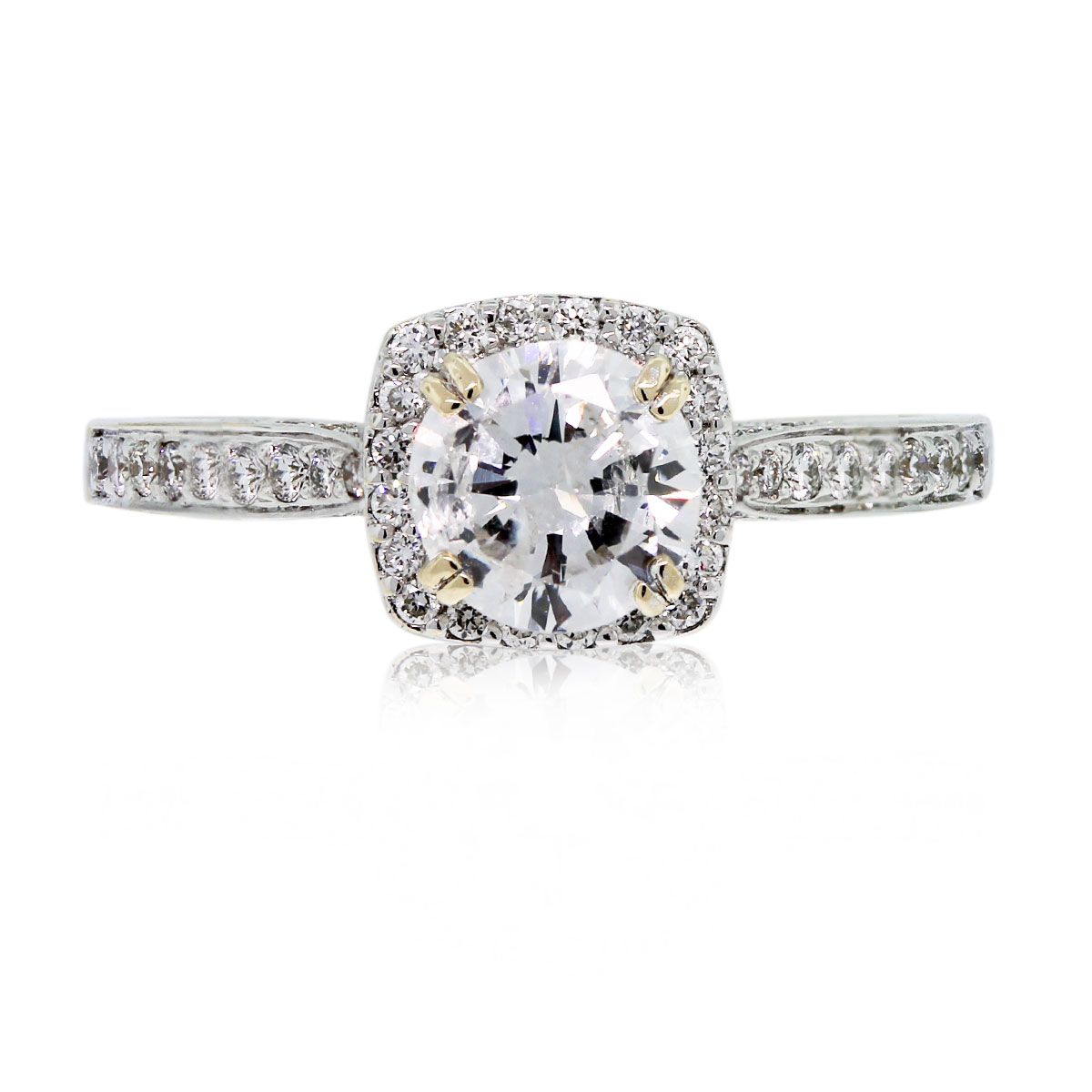 This Platinum Round Brilliant Diamond Halo Engagement Ring is stunning!