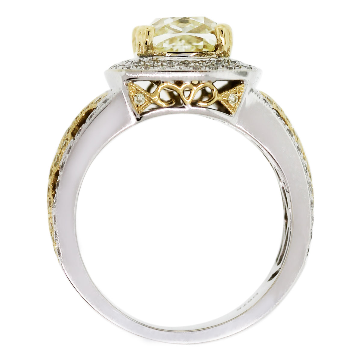 You must see this 18k Two Tone Fancy Yellow Cushion Cut Diamond Engagement Ring