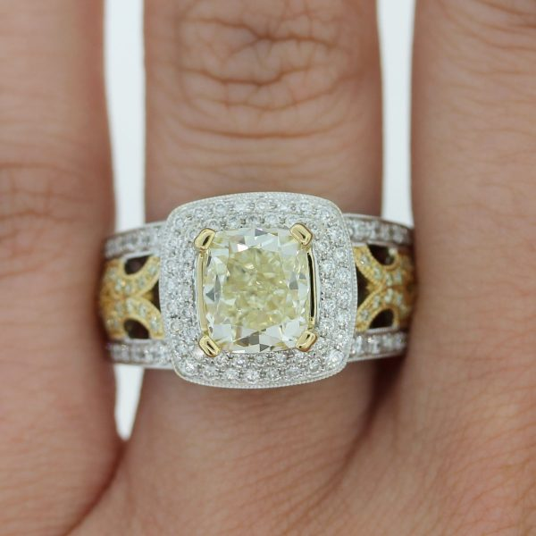 Take a look at this 18k Two Tone Fancy Yellow Cushion Cut Diamond Engagement Ring