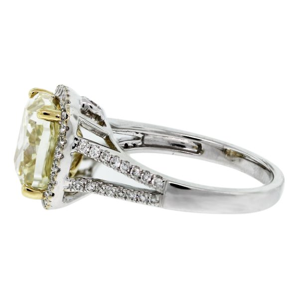 Check out this 18k White Gold Fancy Yellow Cushion Cut Split Shank Diamond Engagement Ring