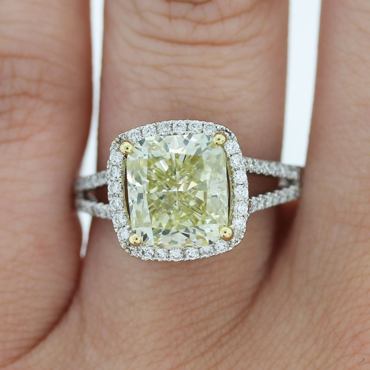 18k white gold fancy yellow cushion cut diamond engagement ring. Black Bedroom Furniture Sets. Home Design Ideas
