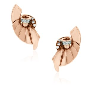 You are Viewing these Gorgeous Rose Gold and Diamond Fan Earrings!