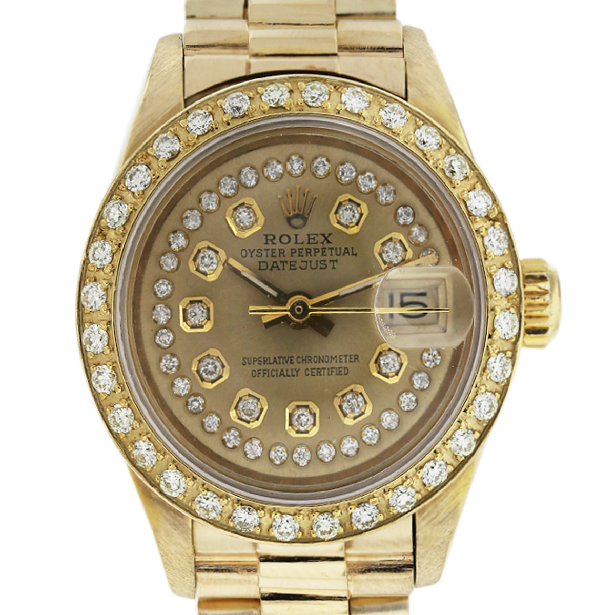 This Rolex 6917 18k Gold Champagne Diamond Dial Bezel Presidential Watch is a beauty!