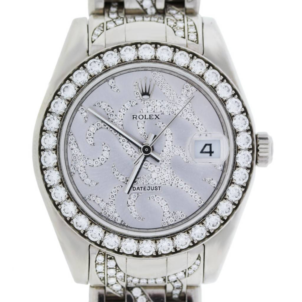 Rolex pearlmaster midsize 81299 white gold diamond pave flamme watch for Rolex pearlmaster