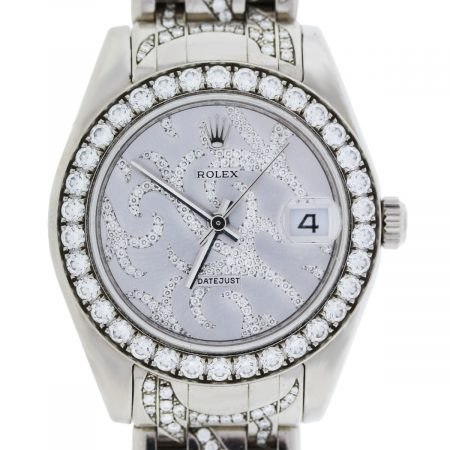 You are viewing this Rolex White Gold Pave Flamme Diamond Pearlmaster Watch!