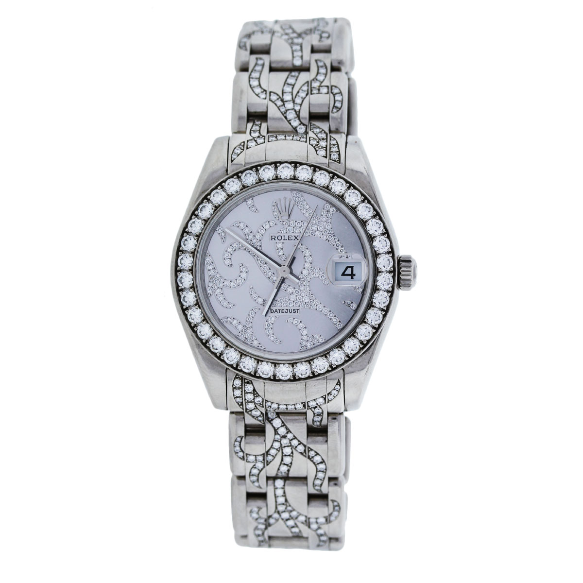 White Gold Pave Flamme Diamond Rolex Watch