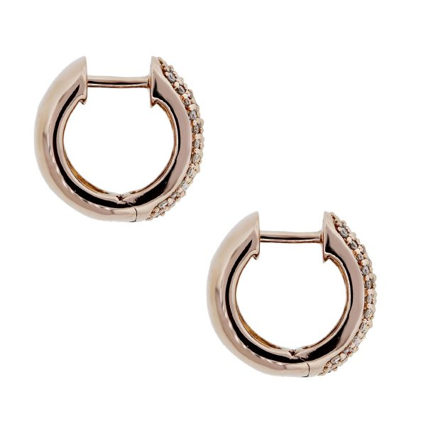 14k Gold and Pave Diamond Huggie Earrings