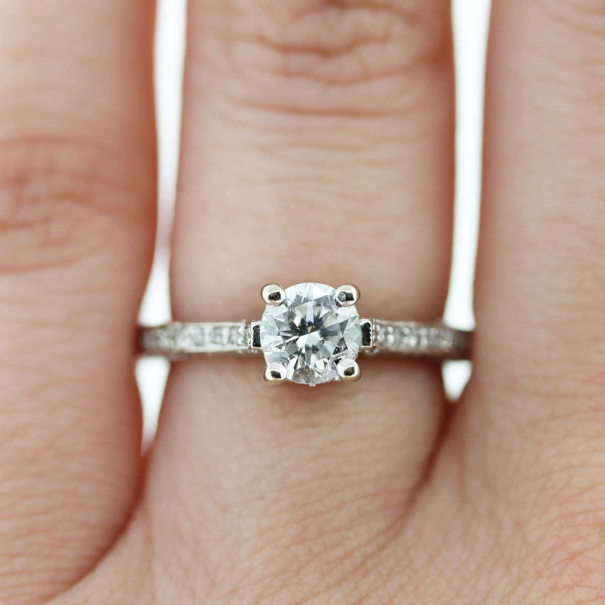 Check out this 14k White Gold EGL Cert. Round Brilliant Diamond Engagement Ring