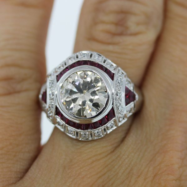 Ruby and Diamond Ring Shown on Finger