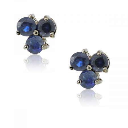 You are viewing these 14k Yellow Gold Sapphire Cluster Stud Earrings!
