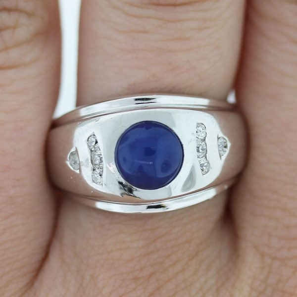 Check out this 14k White Gold Linde Star Sapphire and Diamond Men's Ring