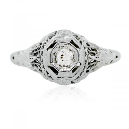 You are viewing this Vintage White Gold Diamond Engagement Ring!