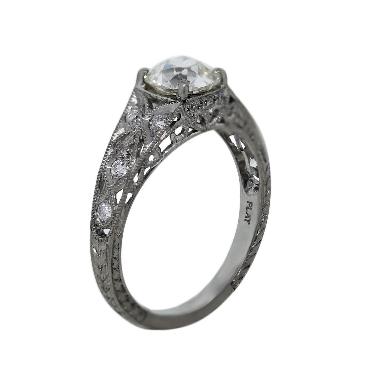 Platinum 1 06ct Old European Cut Diamond Vintage Style Engagement Ring