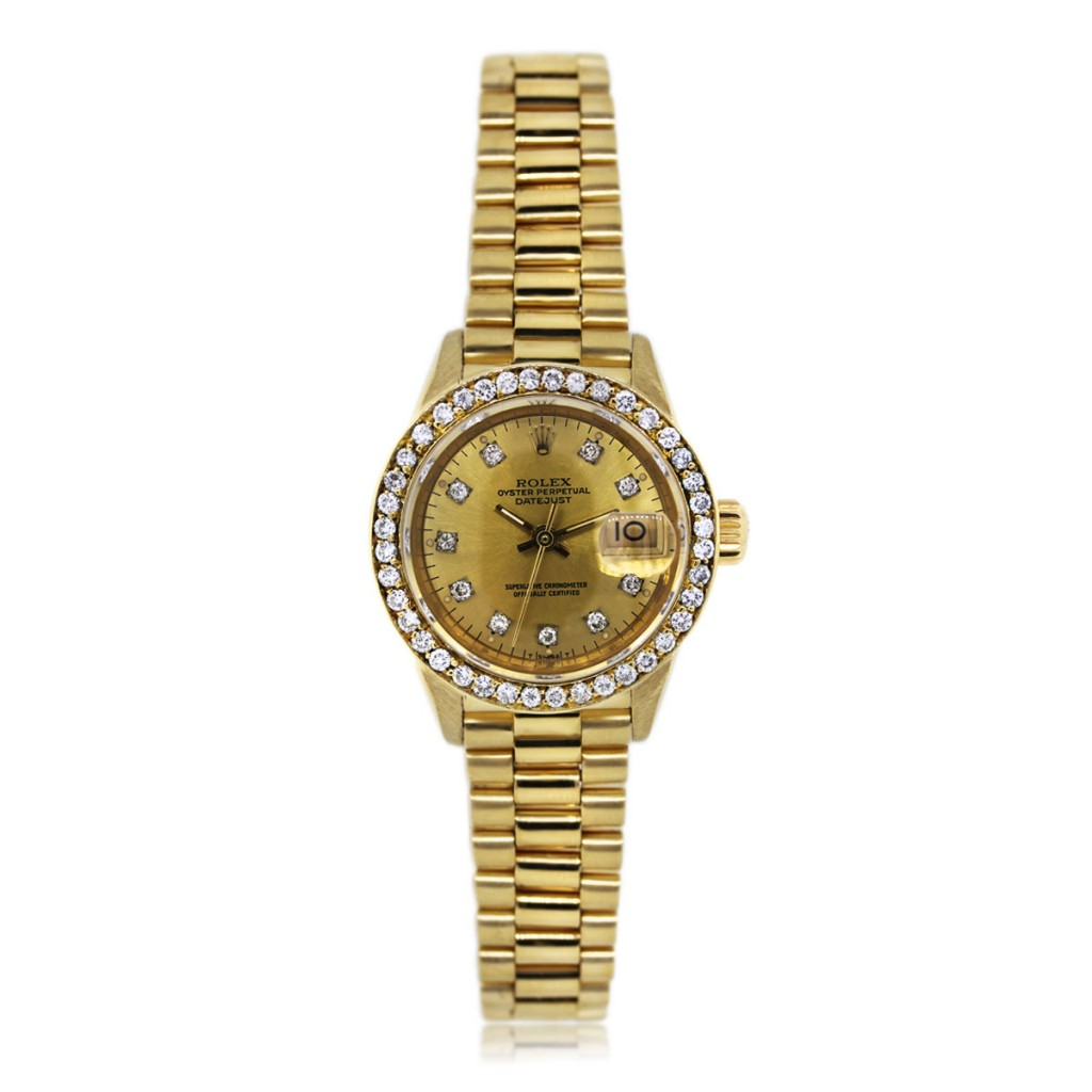 Rolex 69178 president diamond dial diamond bezel ladies watch for Diamond dial watch