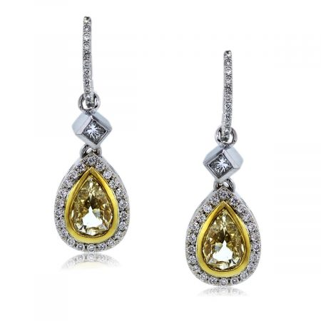 You are Viewing These Stunning Fancy Yellow Diamond Drop Dangle Earrings !