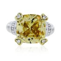 Judith Ripka Two Tone Citrine and Diamond Ring