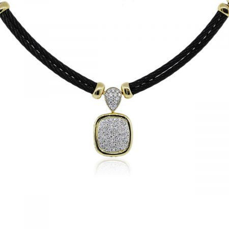 You are viewing this Charriol Yellow Gold Black Cord Diamond Station Necklace!
