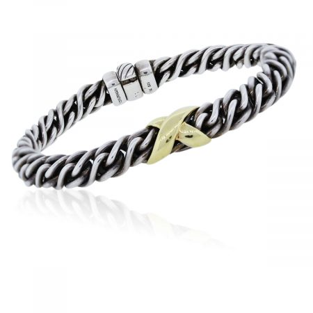 You are viewing this Two Tone David Yurman Woven 'X' Bracelet!