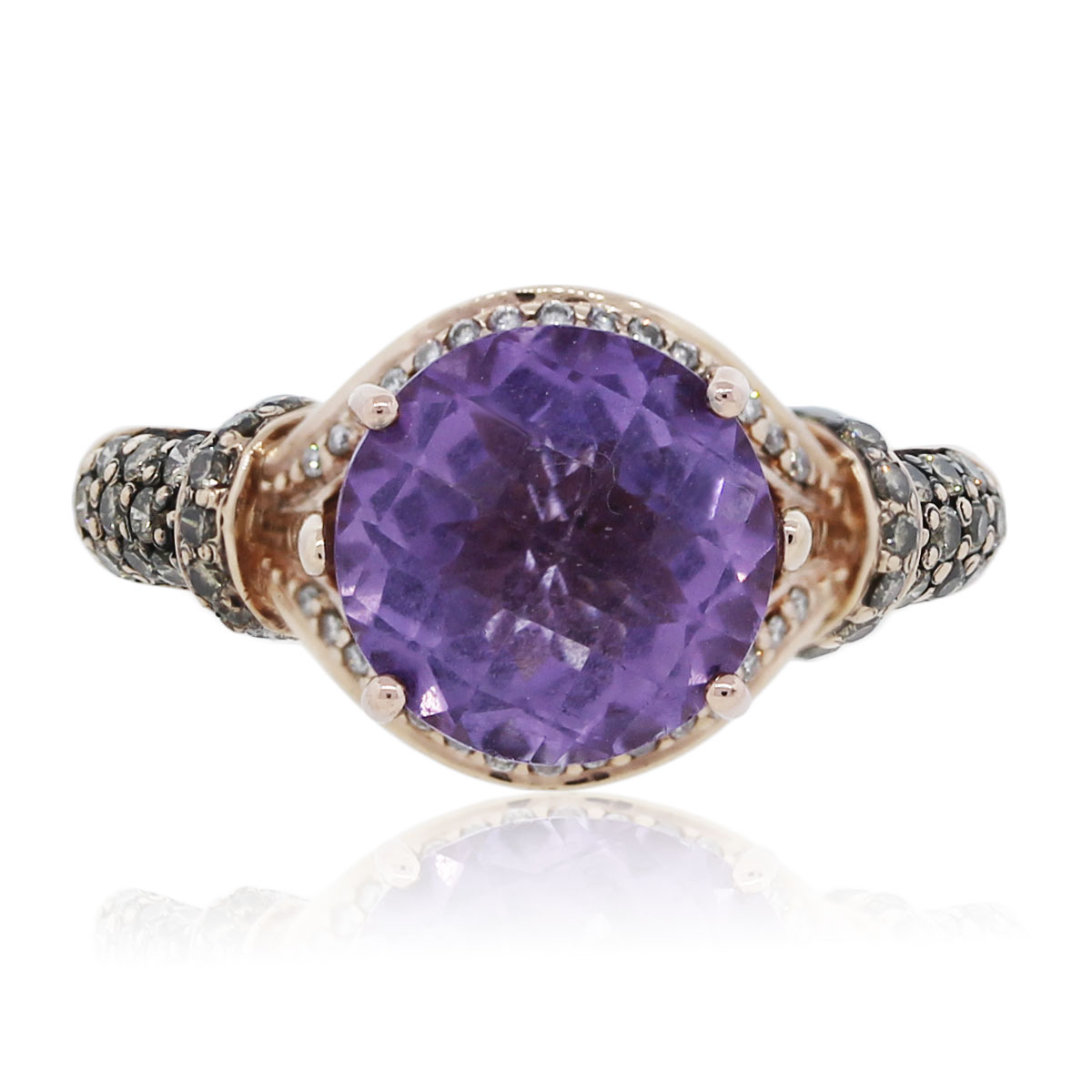 You Are Viewing This Le Vian 14k Rose Gold Amethyst With Diamonds Ring!