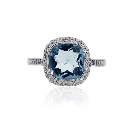 You are viewing this 18k White Gold Aquamarine and Diamond Accent Ring!