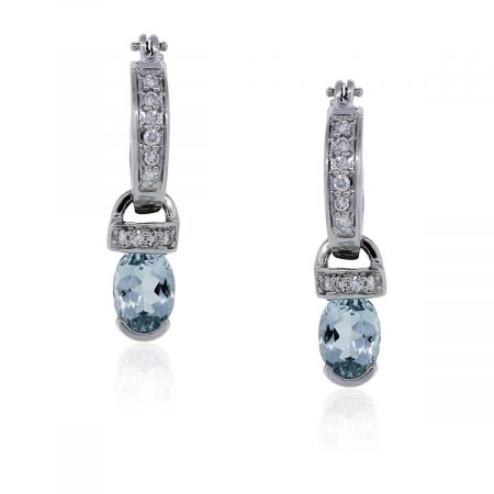 You are viewing these 14k White Gold Diamond and Aquamarine Drop Dangle Earrings!
