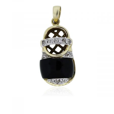 You are viewing this 14k Yellow Gold and Diamonds With Onyx Baby's Shoe Pendant!