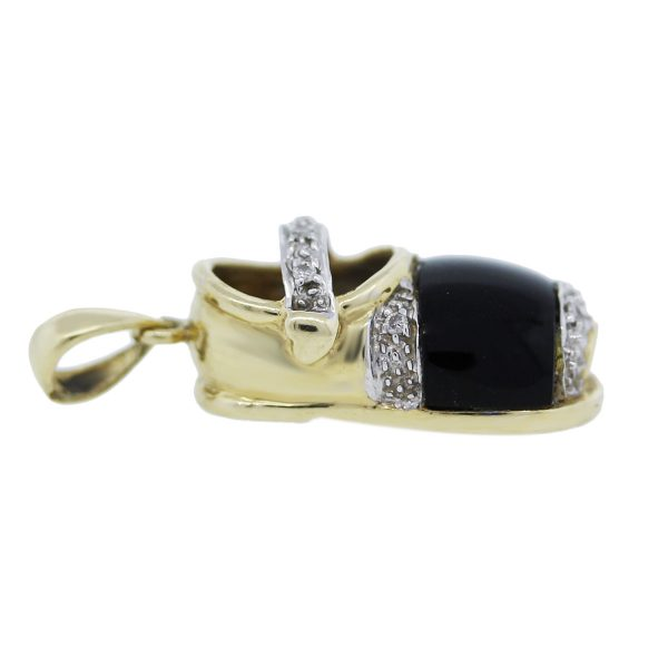 Gold and Diamonds With Onyx Baby's Shoe Pendant