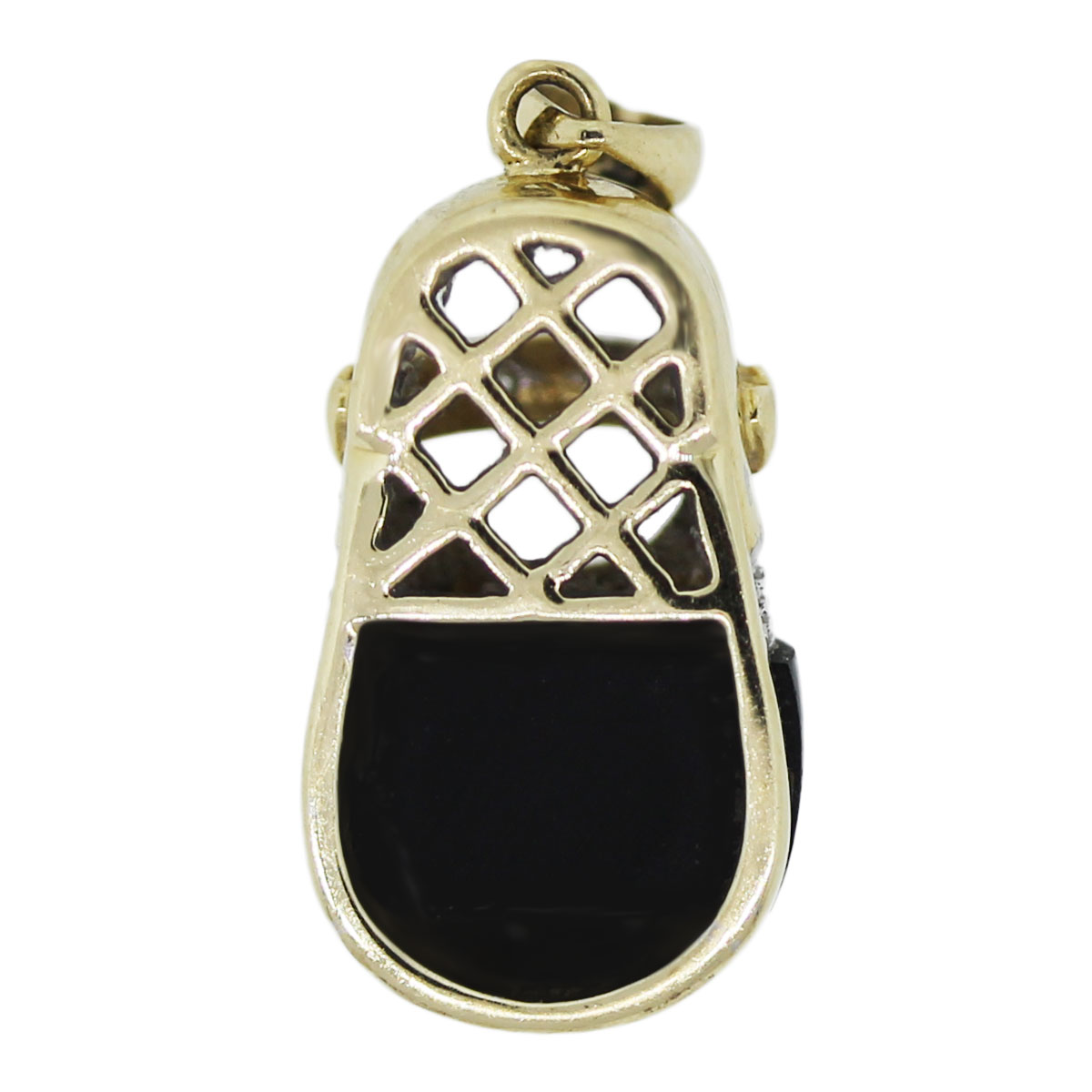14k Yellow Gold and Diamonds With Onyx Pendant