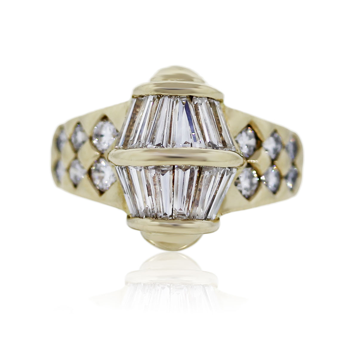 You are viewing this 18K Yellow Gold Baguette and Round Diamond Ring!