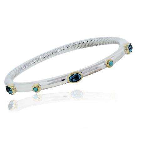 You are viewing this David Yurman 5mm Sterling Silver Blue Topaz & Turquoise Cable Bracelet!